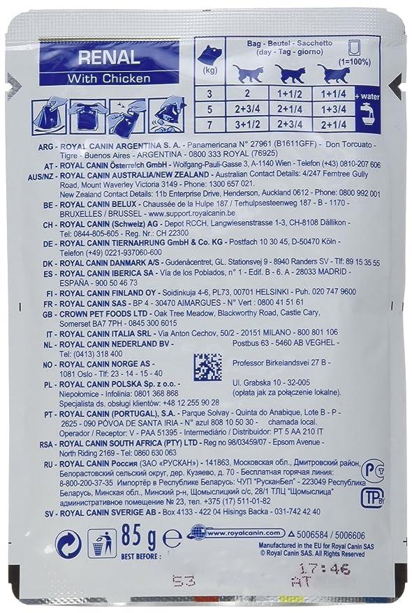 Royal Canin Renal - Comida de pollo para gatos, 12x85 g: Amazon.es: Productos para mascotas