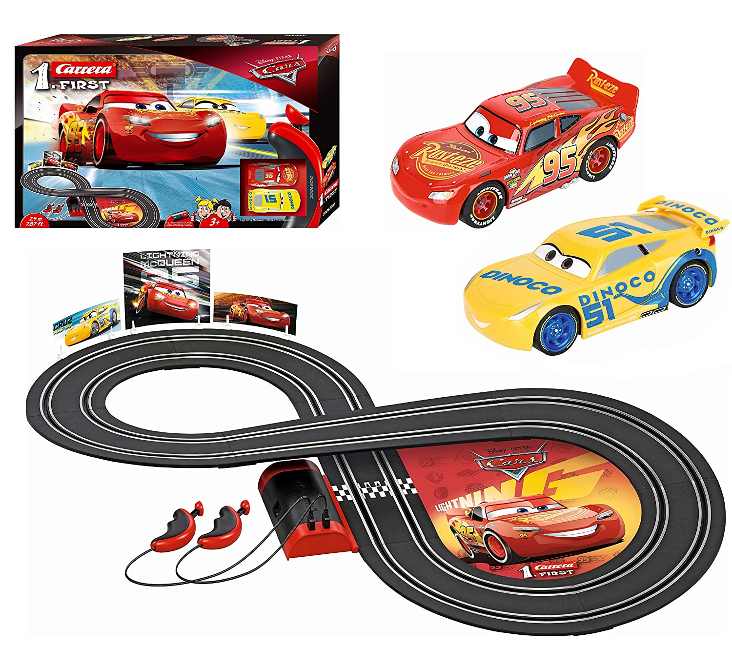 Carrera first disney pixar cars 3 slot car race track includes 2 cars lightning mcqueen and dinoco cruz battery powered beginner racing set for kids