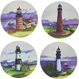 """CoasterStone AS2095 Absorbent Coasters, 4-1/4-Inch, """"Lighthouses by Wendy Buser"""", Set of 4"""