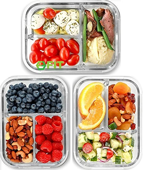 10Pack Bento Box 32oz 3 Compartment Meal Prep Containers with Lids Food Storage