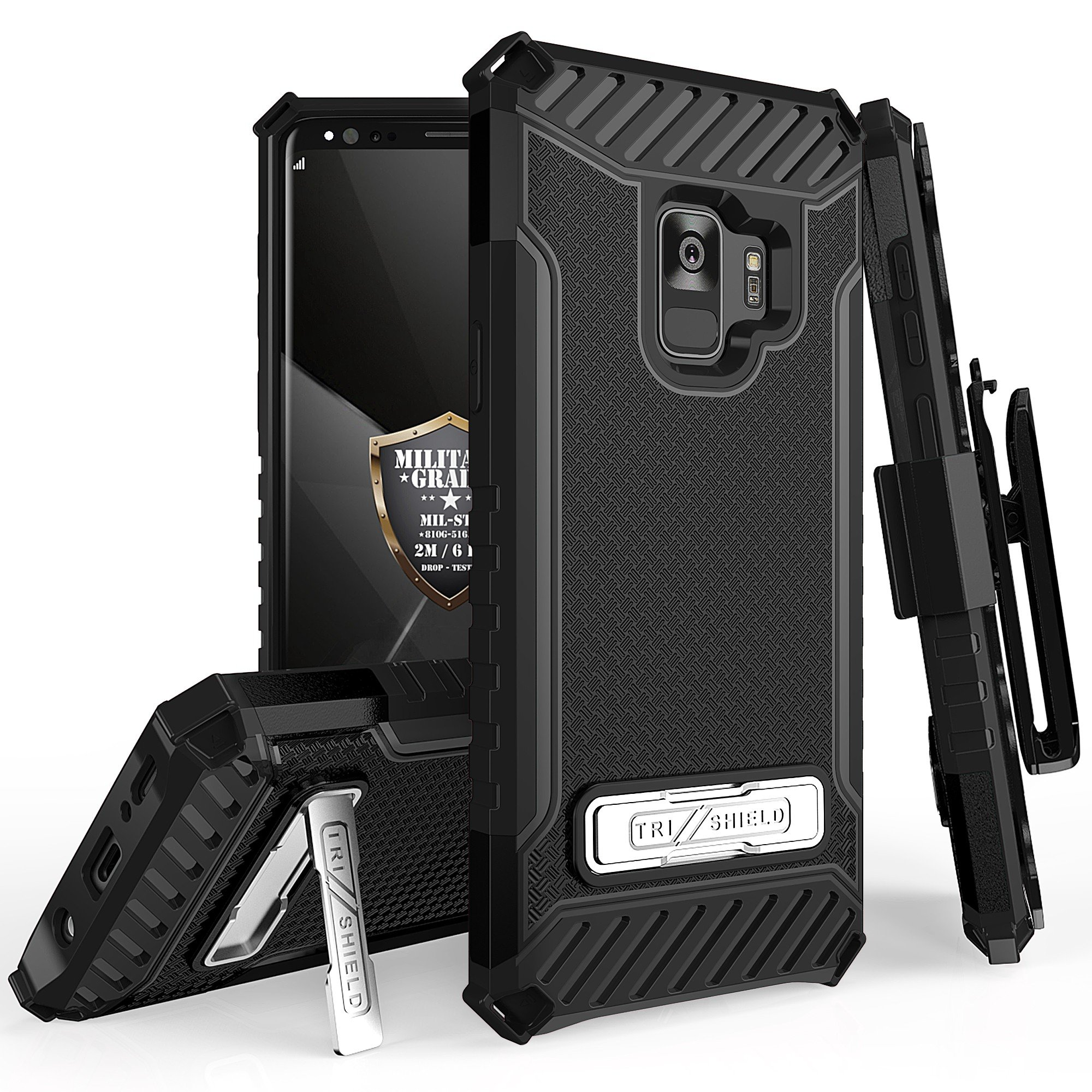 Galaxy S9 Plus / Galaxy S9+ Case Phone Case 360° Cover Protector With Clip Holster Kick stand Armor Layers Grip Sides Shock Bumper for Samsung S9+ (Black)