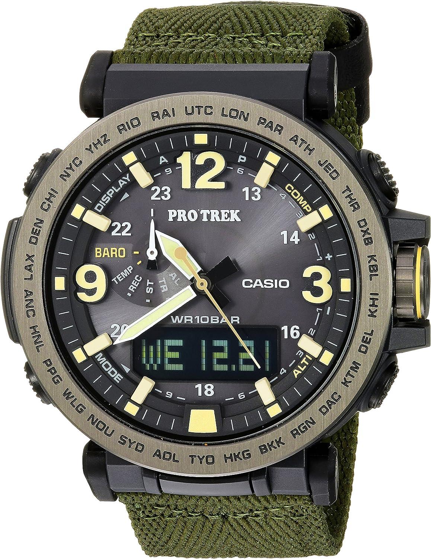 Casio Men's 'PRO TREK' Quartz Resin and Cloth Casual Watch, Color:Green (Model: PRG-600YB-3CR)