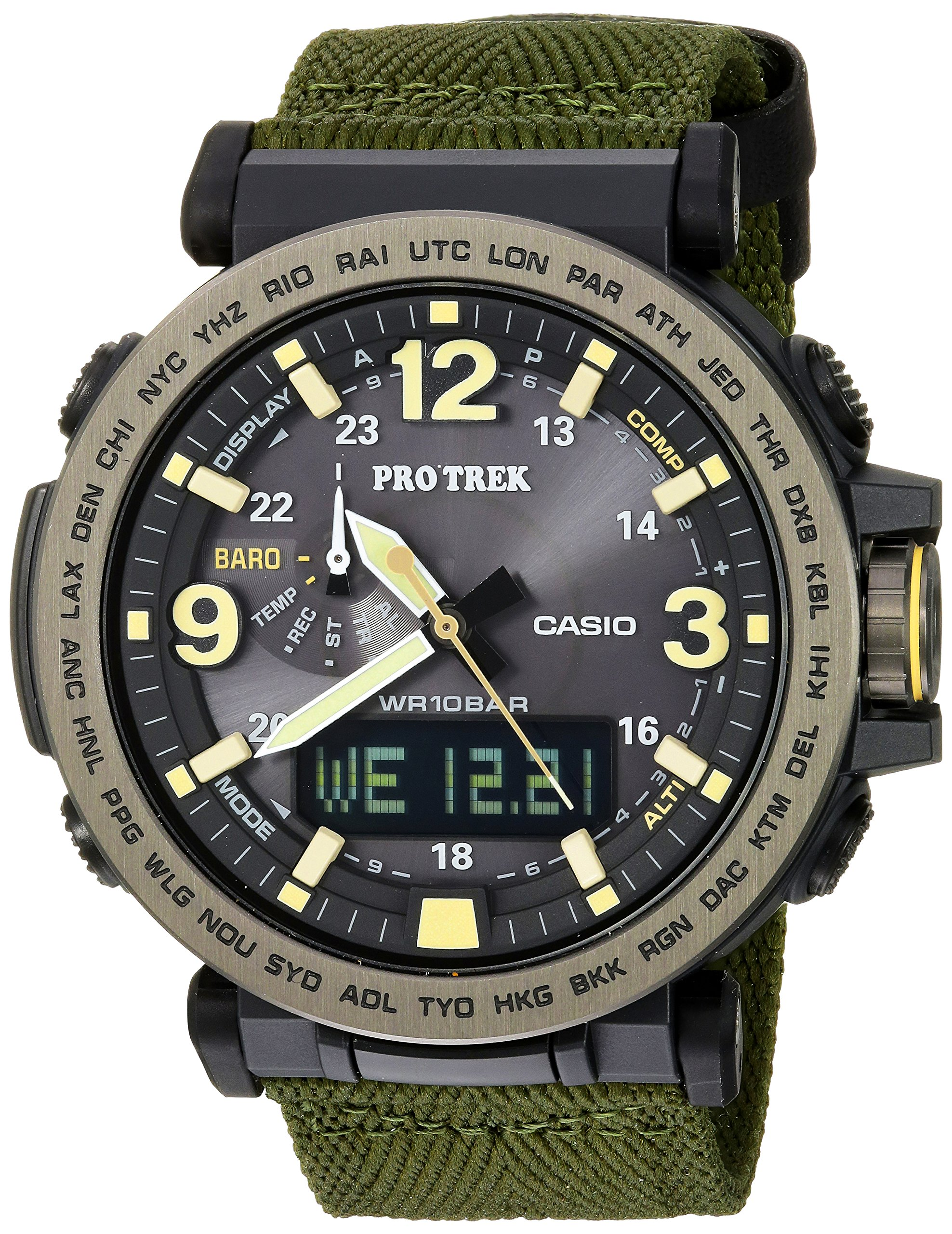 Casio Men's 'PRO TREK' Quartz Resin and Cloth Casual Watch, Color:Green (Model: PRG-600YB-3CR) by Casio