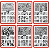 CICI&SISI Nail Stamping Plate Set Jumbo 4-Set of 6 JUMBO Nail Art Polish Stamping Manicure & Pedicure Kits All New Designs with FREE STAMPER & SCRAPER TOOLS SET