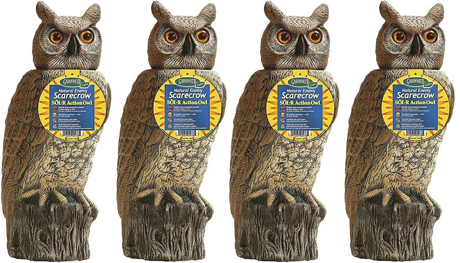 Amazon.com : Gardeneer by Dalen Solar Action Owl Natural Scarecrow Device, 18in (Pack of 4) : Garden & Outdoor