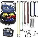 CARCRAFT 24er Set Premium Spanngummis bzw. Gepäckspanner mit Haken/inkl. Tasche/extra starke u. langlebige Expander/Spanngurte/Spannseile