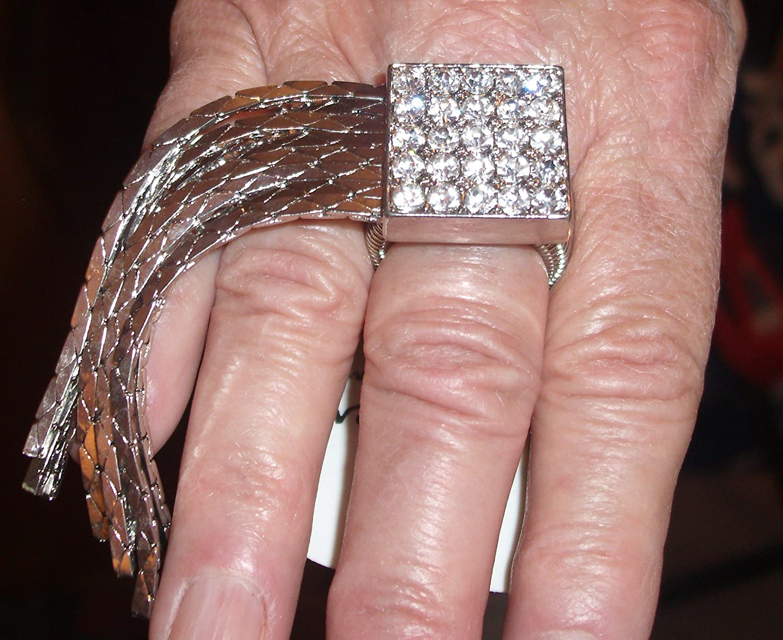 Amazon.com: Square Tassels Stretch Ring C49 Clear Crystal Art Deco ...