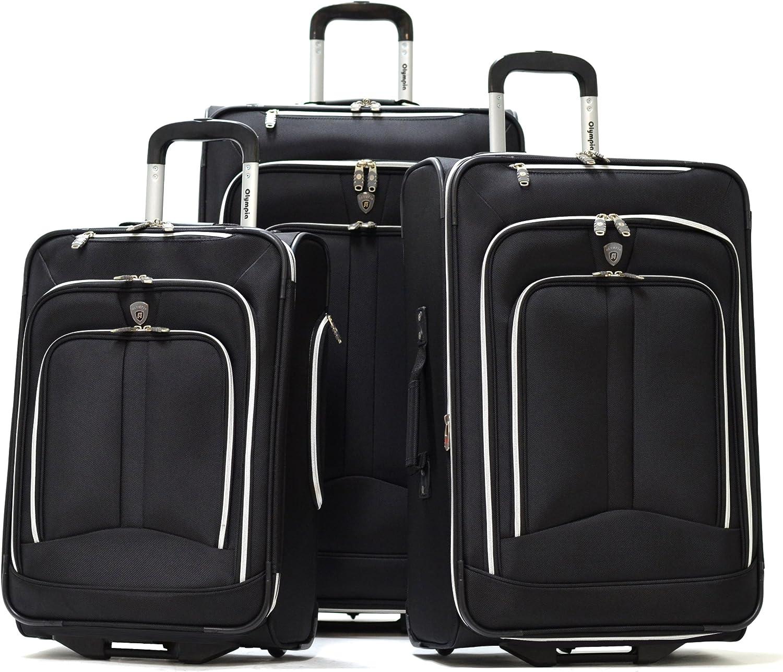Olympia Luggage Hamburg 3-Piece Luggage Set,Black,One Size