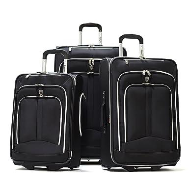 Amazon.com | Olympia Luggage Hamburg 3-Piece Luggage Set, Black ...