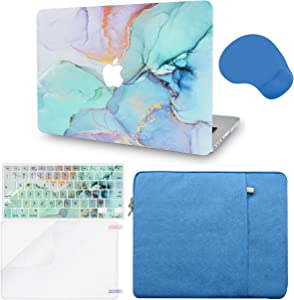LuvCase 5 in 1 Laptop Case Compatible with MacBookPro 15 Touch Bar (2019/2018/2017/2016) A1990/A1707HardShellCover, Sleeve, Mouse Pad, Keyboard Cover, Screen Protector(Teal Marble)