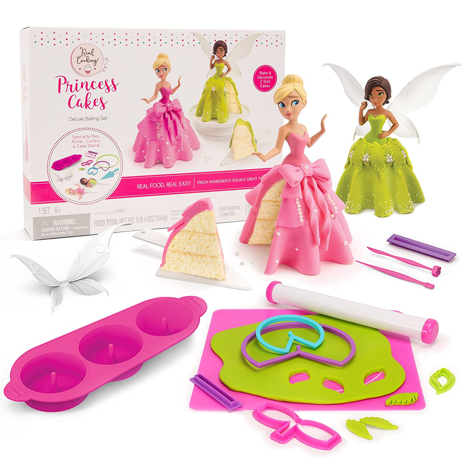 Real Cooking Princess Cakes Deluxe Baking Set - 22 Pc. Kit Includes Cake Mix, Fondant, and Sprinkles