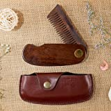Beardhood Beard Comb Wooden with Leather Case Folding Pocket, Brown