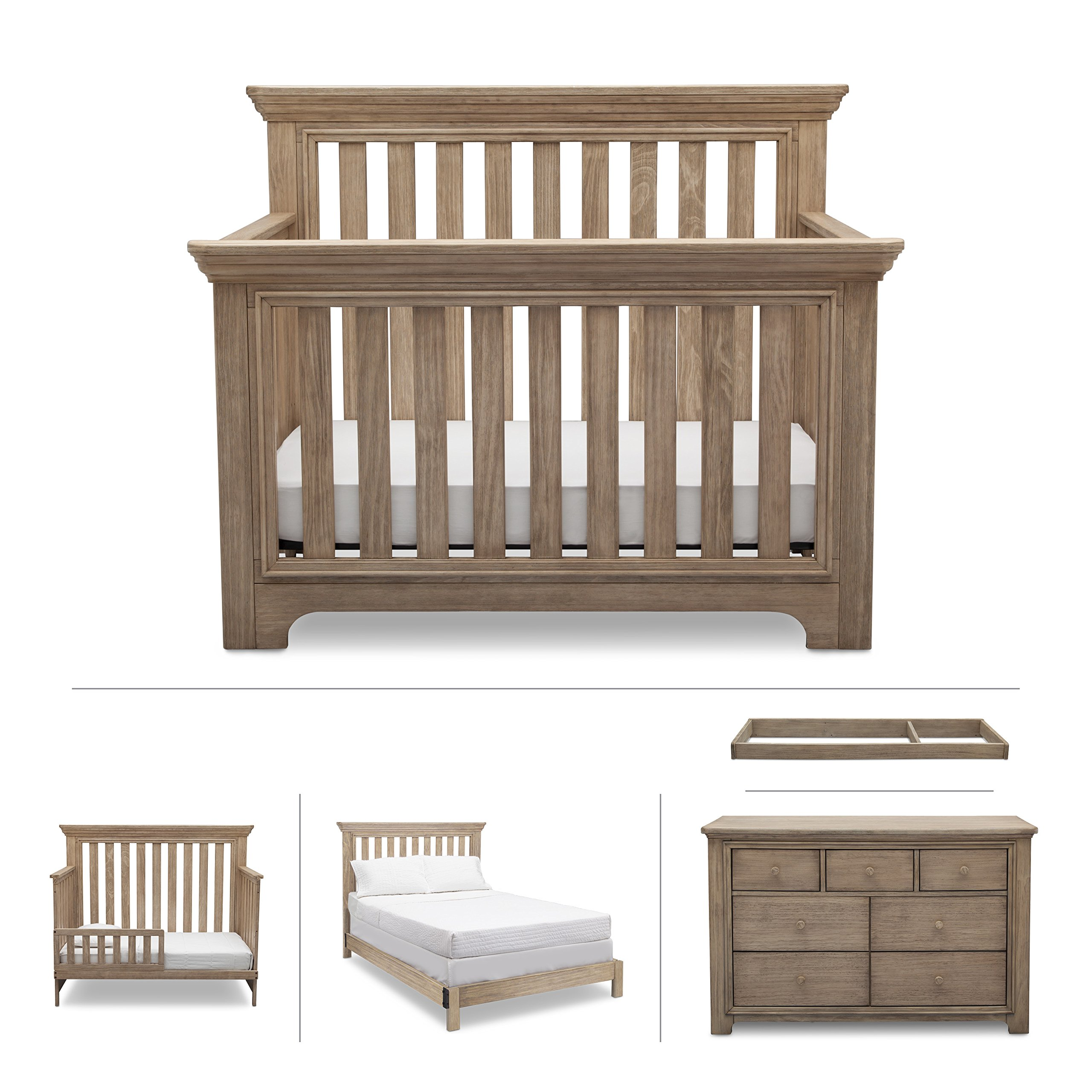 Nursery Furniture Set, 5-Piece - Serta Kids (Convertible Crib, Dresser, Changing Top, Toddler Guardrail, Full Size Conversion), Langley, Rustic Whitewash