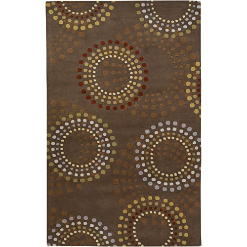 Surya FM-7107 Forum Chocolate Area Rug, 4 Square, Chocolate Brown Rust Green Taupe Burgundy Gold Light Blue