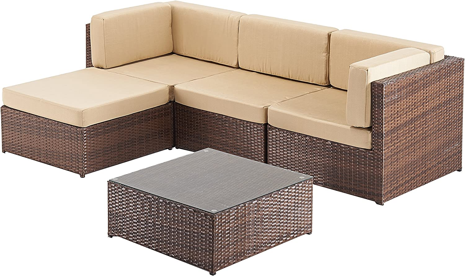Rattan Garden Furniture Corner Sofa Suite, Ideal for Conservatory