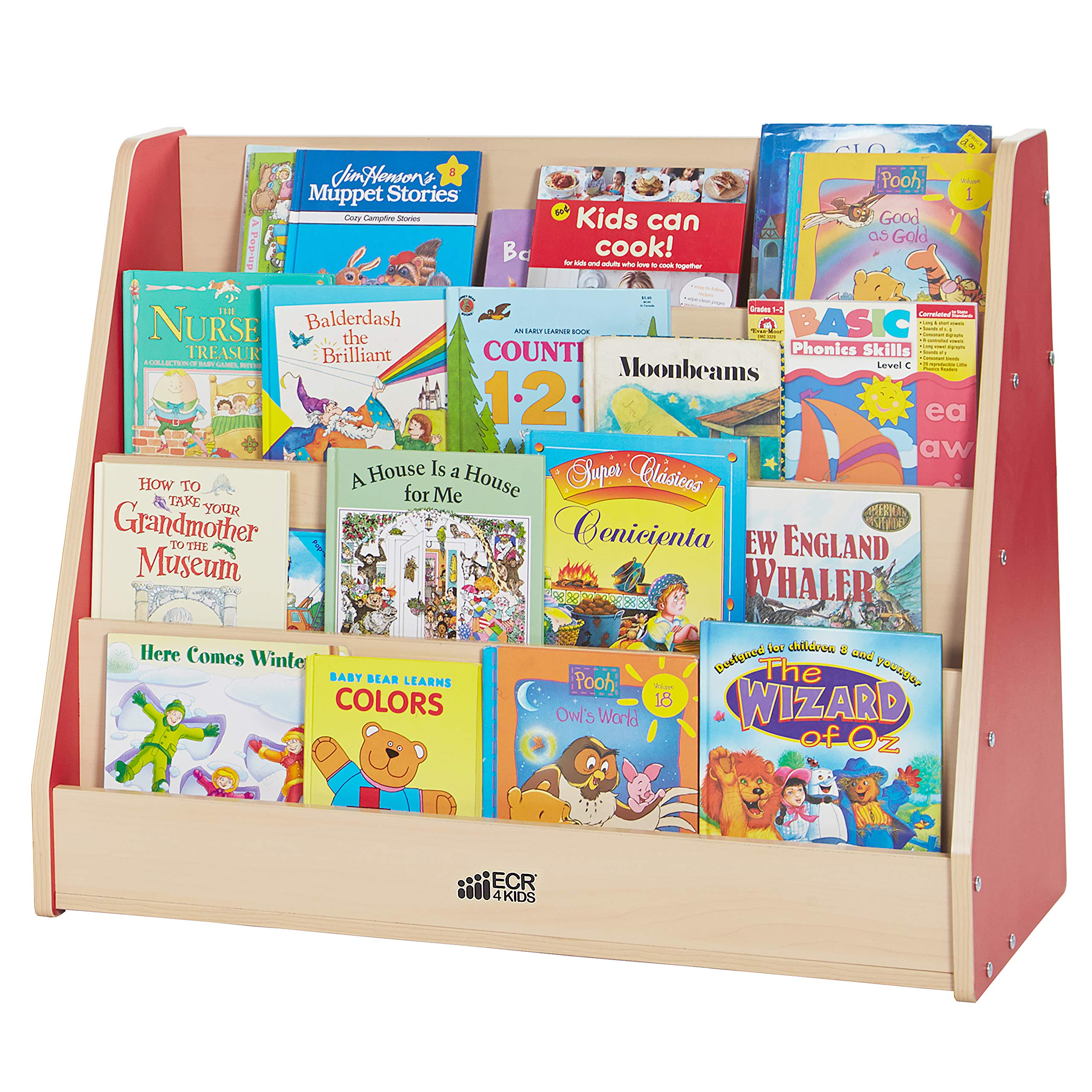 ECR4Kids Colorful Essentials 4-Tier Book Display Stand, Red