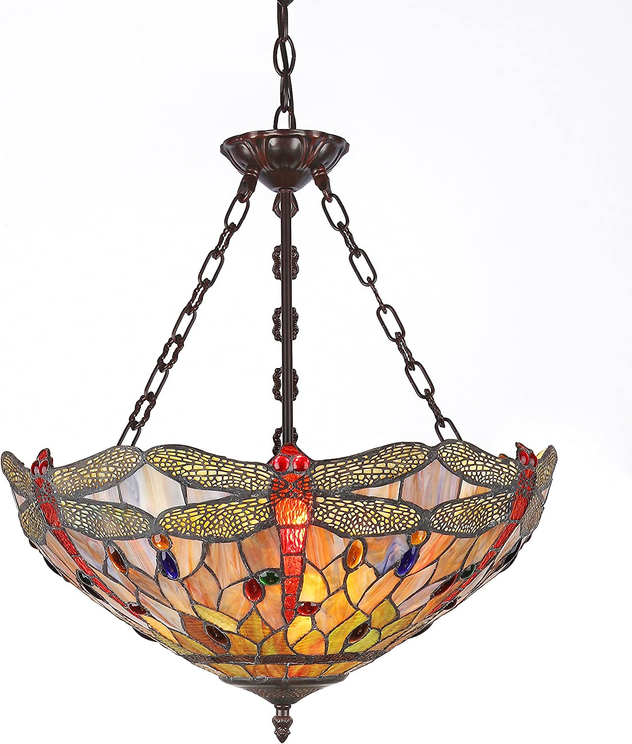 CHLOE Lighting, Inc. CH2825DB18-UH3 CHLOE Lighting Tiffany-Style Dragonfly 3-Light Inverted Ceiling Pendant Fixture with Shade, 18 x 18 x 23