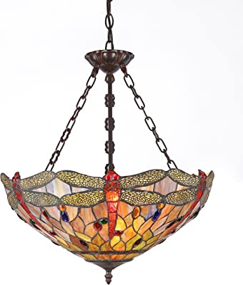 """CHLOE Lighting, Inc. CH2825DB18-UH3 CHLOE Lighting Tiffany-style Dragonfly 3-Light Inverted Ceiling Pendant Fixture with Shade, 18"""" x 18"""" x 23"""""""