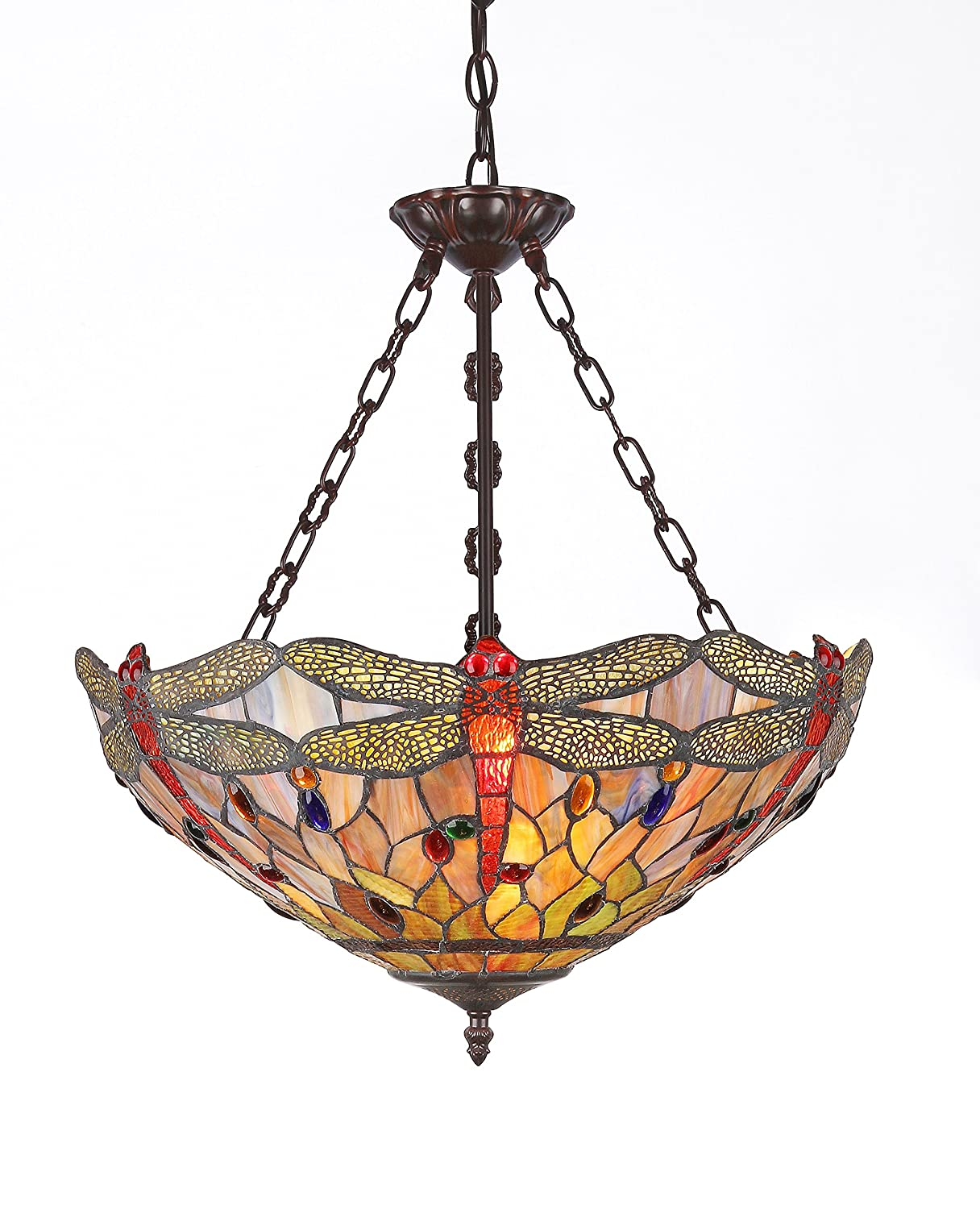 Chloe Lighting Inc Ch2825db18 Uh3 Tiffany Style Dragonfly 3 Light Inverted Ceiling Pendant Fixture With Shade 18 X 23