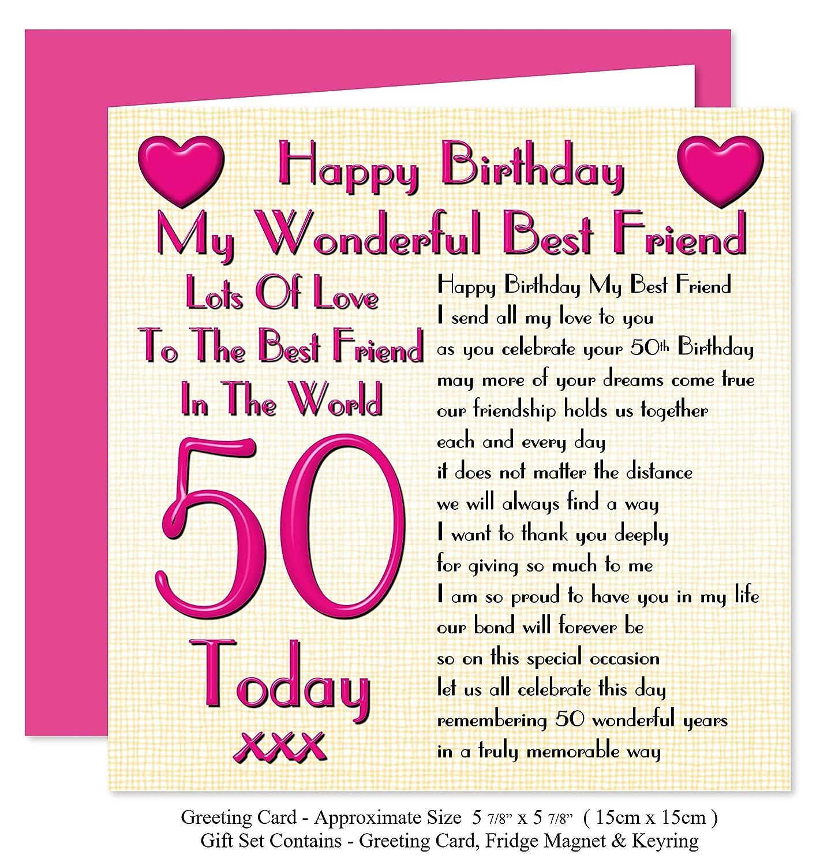 Best Friend 50th Happy Birthday Gift Set Card Keyring Fridge