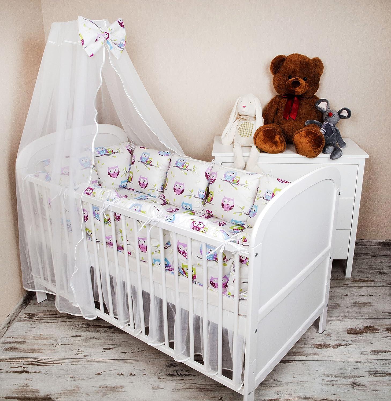 Baby nestchen bettumrandung 420 cm design: eule weiß bettnestchen ...