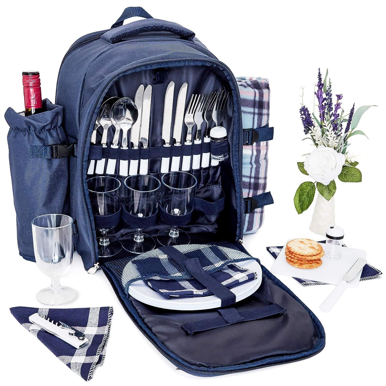 Amazon.com: Mochila de picnic – Juego de almuerzo para 4 ...