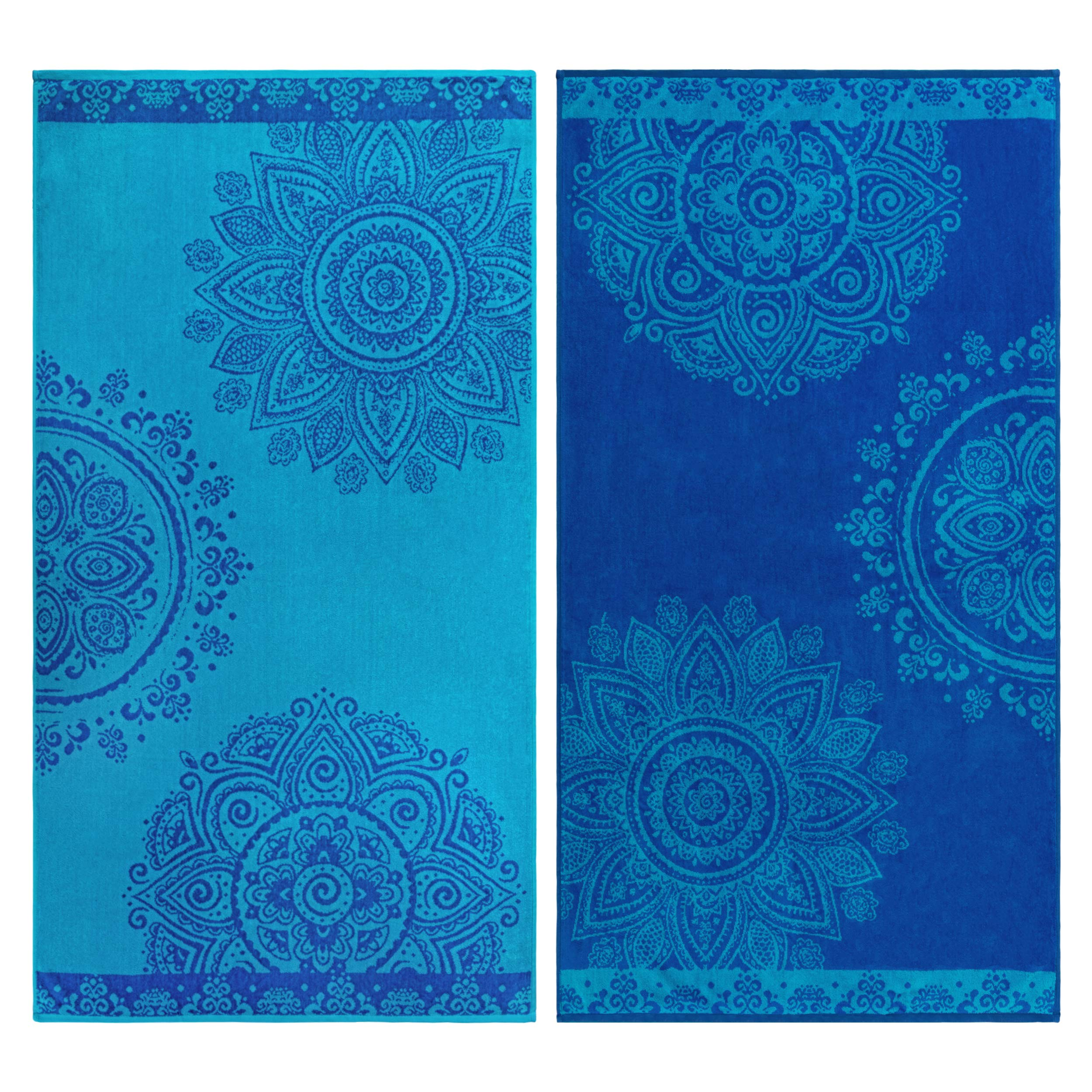 """Superior 100% Egyptian Cotton, 450 GSM, Floral Mandala Oversized Beach Towel (Set of 2) 34""""x 64"""", 2-Ply, High Absorbency Blue and teal Floral Pattern"""