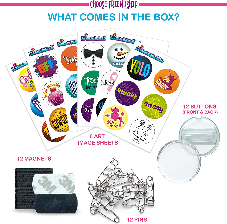 Blue//Yellow Crorey Creations Inc Kids Badge Button Kit My Image Button Maker BUTTONMK Choose Friendship