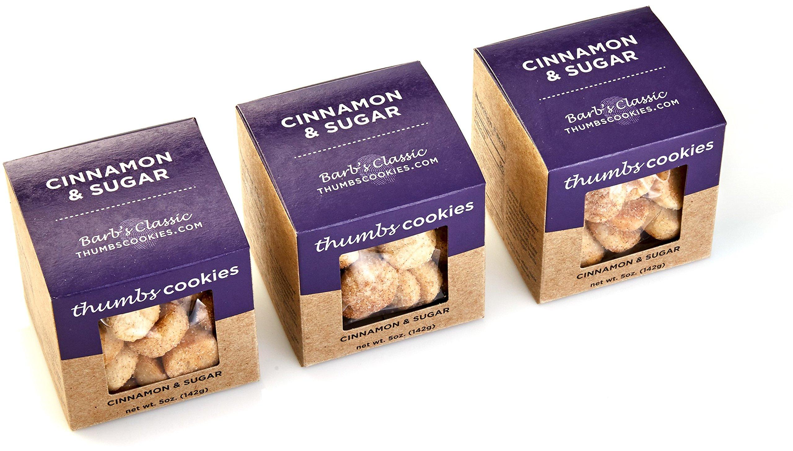 Thumbs Cookies Gourmet Cinnamon Sugar Cookie Pack of Fresh Baked Cookies - 3 Boxes - 1/3 lb. Cookie Gift Box