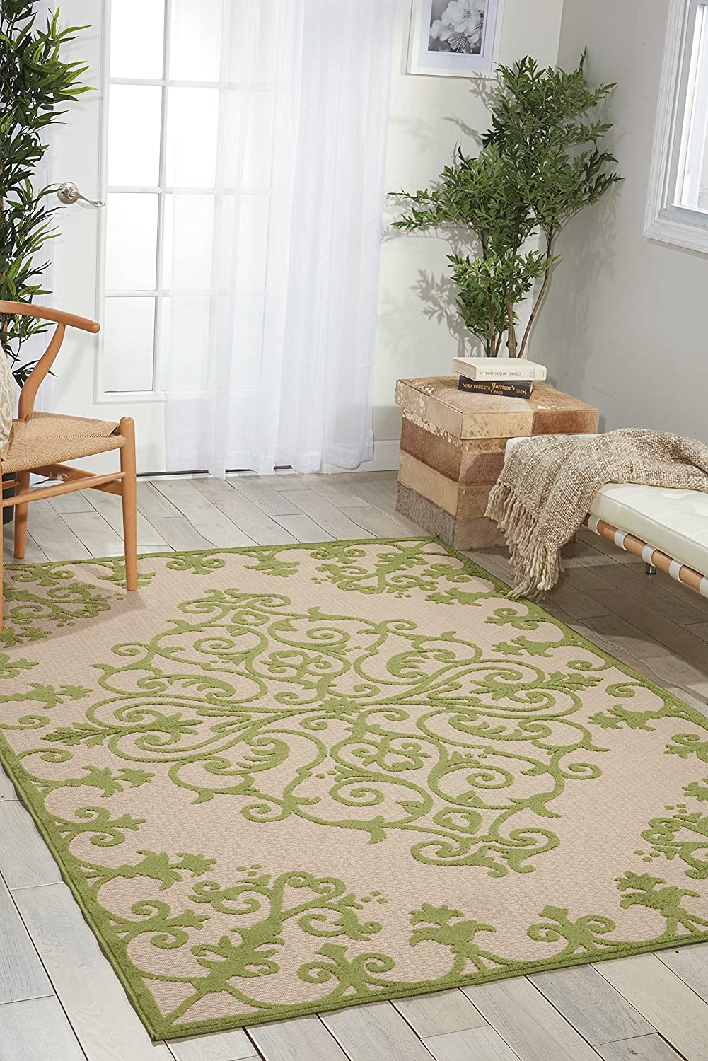 Nourison Aloha Green Rectangle Area Rug, 3-Feet 6-Inches by 5-Feet 6-Inches (3'6