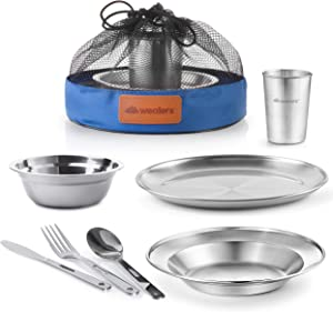 Unique Complete Messware Kit Polished Stainless Steel Dishes Set| Tableware| Dinnerware| Camping| Includes - Cups | Plates| Bowls| Cutlery| Comes in Mesh Bags