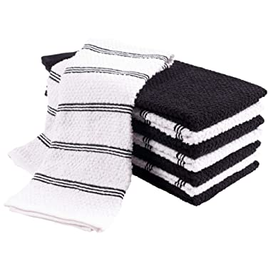 KAF Home Pantry Piedmont Terry Kitchen Towels | Set of 8, 16 x 26 inch, Absorbent Terry Cloth Dish Towels, Hand Towels, Tea Towels | Perfect for Kitchen Spills, Cooking, and Messes - Black