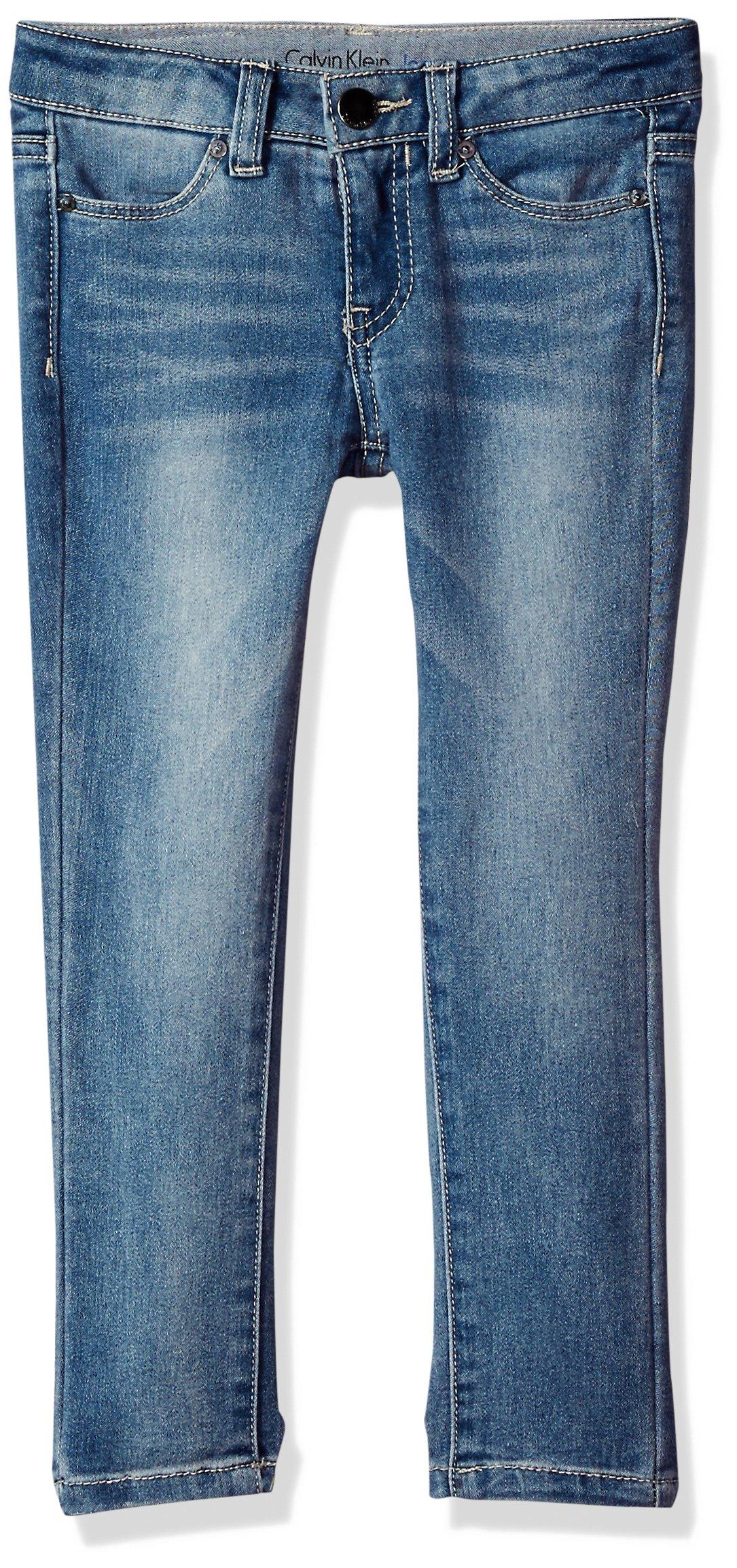 Calvin Klein Little Girls' Ultimate Skinny Jean, Frost, 6