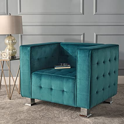 Bunta | Modern New Velvet Club Chair With Button Tufted Accent | In Dark  Teal