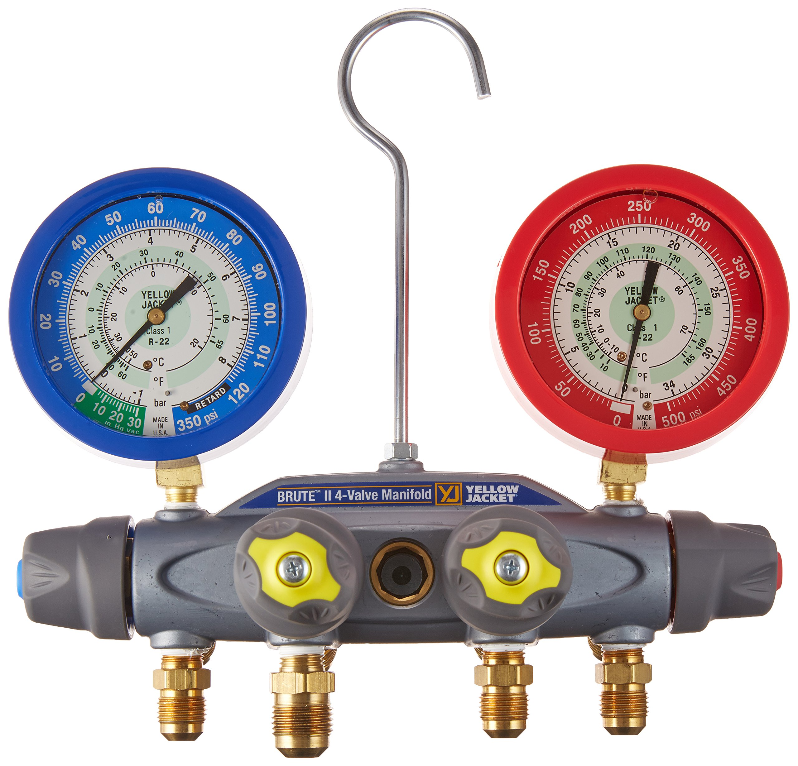 Yellow Jacket 46081 Brute II 4-Valve Manifold with Liquid Gauges, 1/2'' Vacuum Port, 3/8'' Charge, bar/psi, R-22
