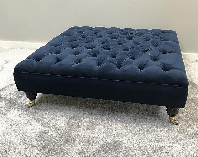 Extra Large Chesterfield Footstool Plush Velvet Indigo Navy Deep