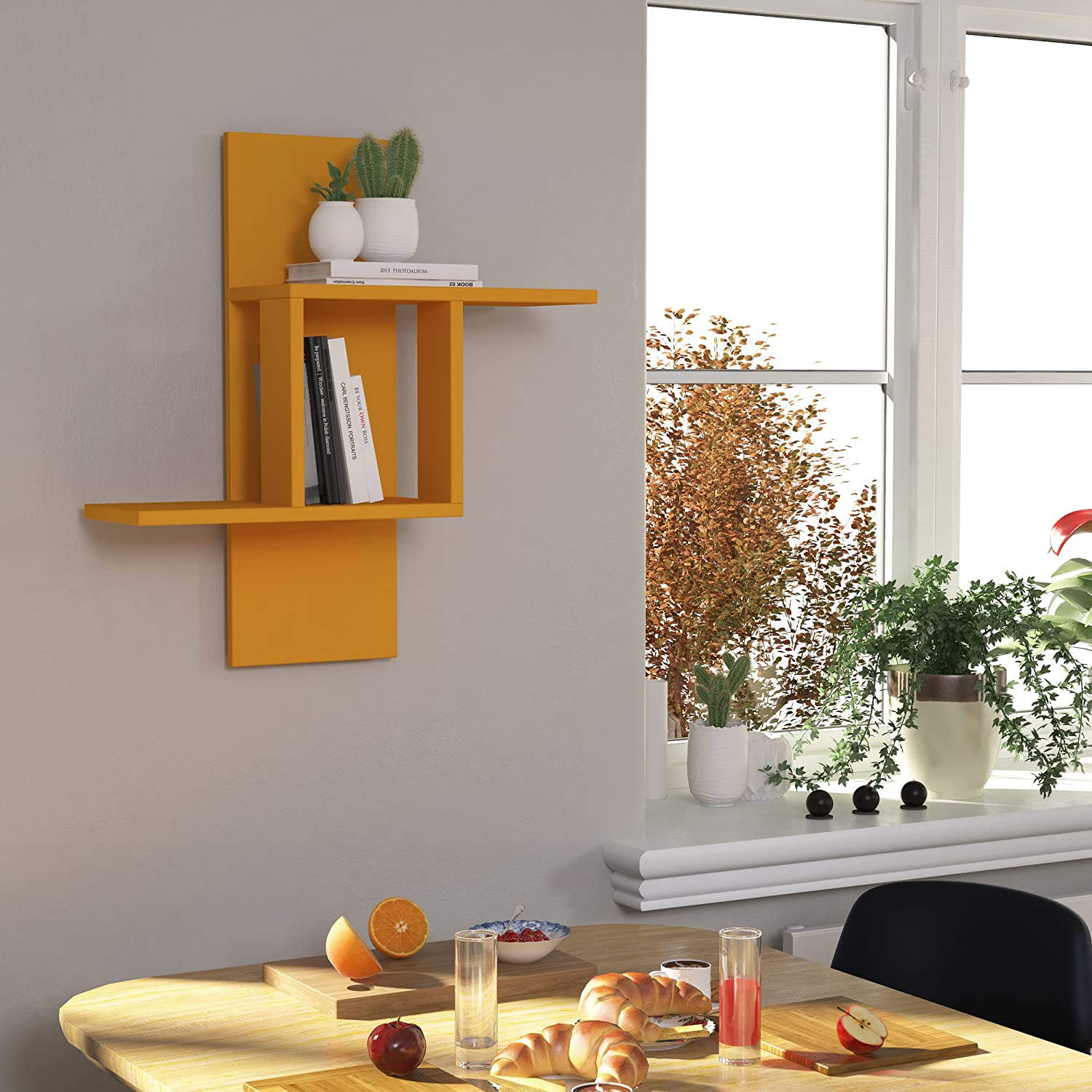 64x20x70cm Living Room Office Storage Hocuspicus 2 Tier Wall Shelf Many Colour Options- Easy to Assemble Mustard