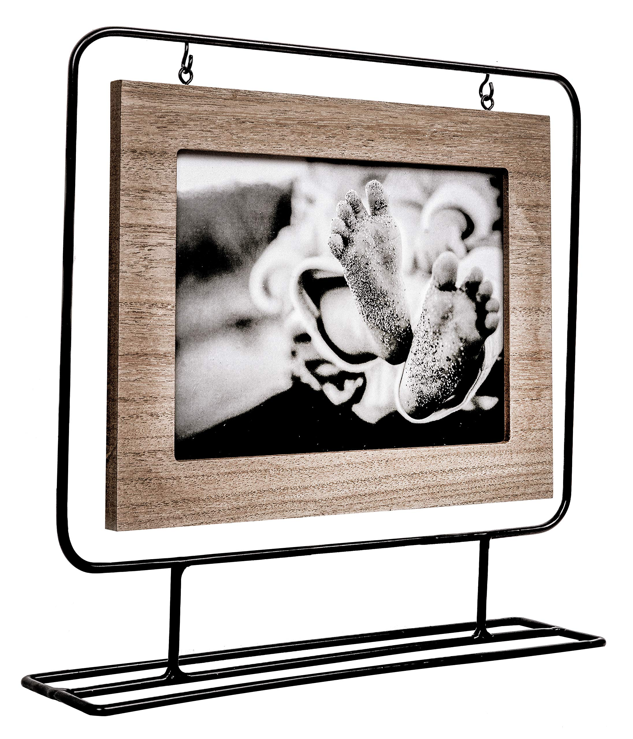 Space Art Deco 7x5 Black Wire Stand Picture Frame - Holds One 7x5 Photo - Black Iron - Tabletop Display - Landscape - Hanging Frame - Flexible Metal Tabs - Light Frame Border (7x5) by Space Art Deco