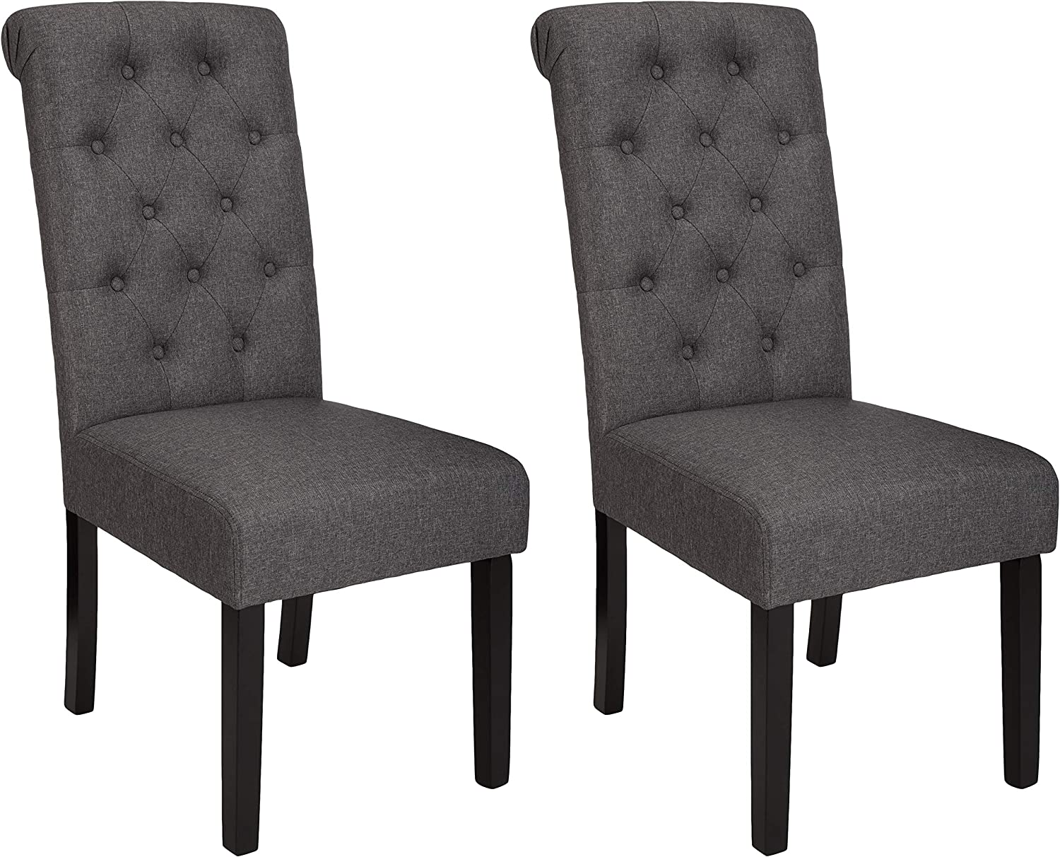 AmazonBasics Classic Fabric Tufted Dining Chair with Wooden Legs - Set of 2, Charcoal
