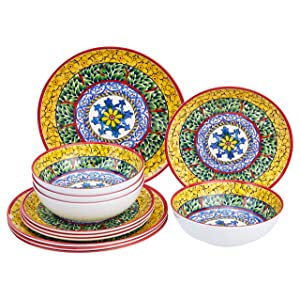 AmazonBasics 12-Piece Melamine Dinnerware Set - Service for 4, Traditional Decorated