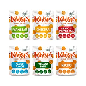 Whisps Cheese Crisps 6-Flavor Variety Pack | Parmesan, Cheddar, Asiago & Pepper Jack, Tangy Ranch, Tomato Basil, Nacho | Keto Snack, Gluten Free, Low Sugar, Low Carb, High Protein | 2.12oz (6 Pack)