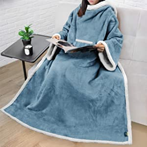 PAVILIA Sherpa Fleece Wearable Blanket with Sleeves for Adult Women Men   Blanket with Arms Pocket Throw for Couch Sofa Home   Cozy Warm Super Soft Plush Lightweight (Slate Blue)