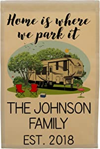 Home is Where we Park it Fifth Wheel Camp Flag Personalized with 3 Lines of Custom Text, Tan Fabric (Tan with Dark Windows)