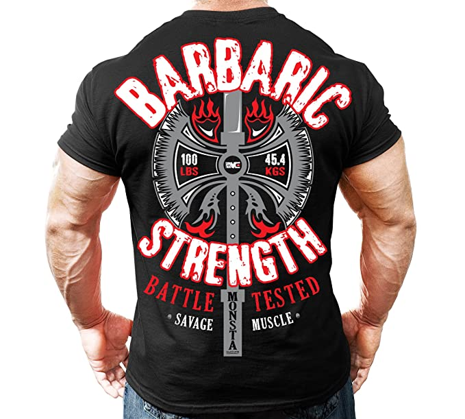75fa17b026fc Monsta Clothing Co. Men's Bodybuilding Workout (Barbaric Strength) Gym  T-Shirt