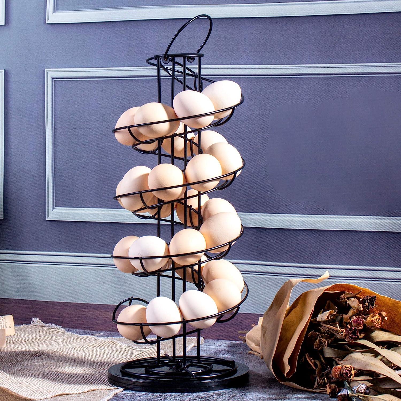 Egg Skelter,Spiral Design Metal Display Egg Holder Basket