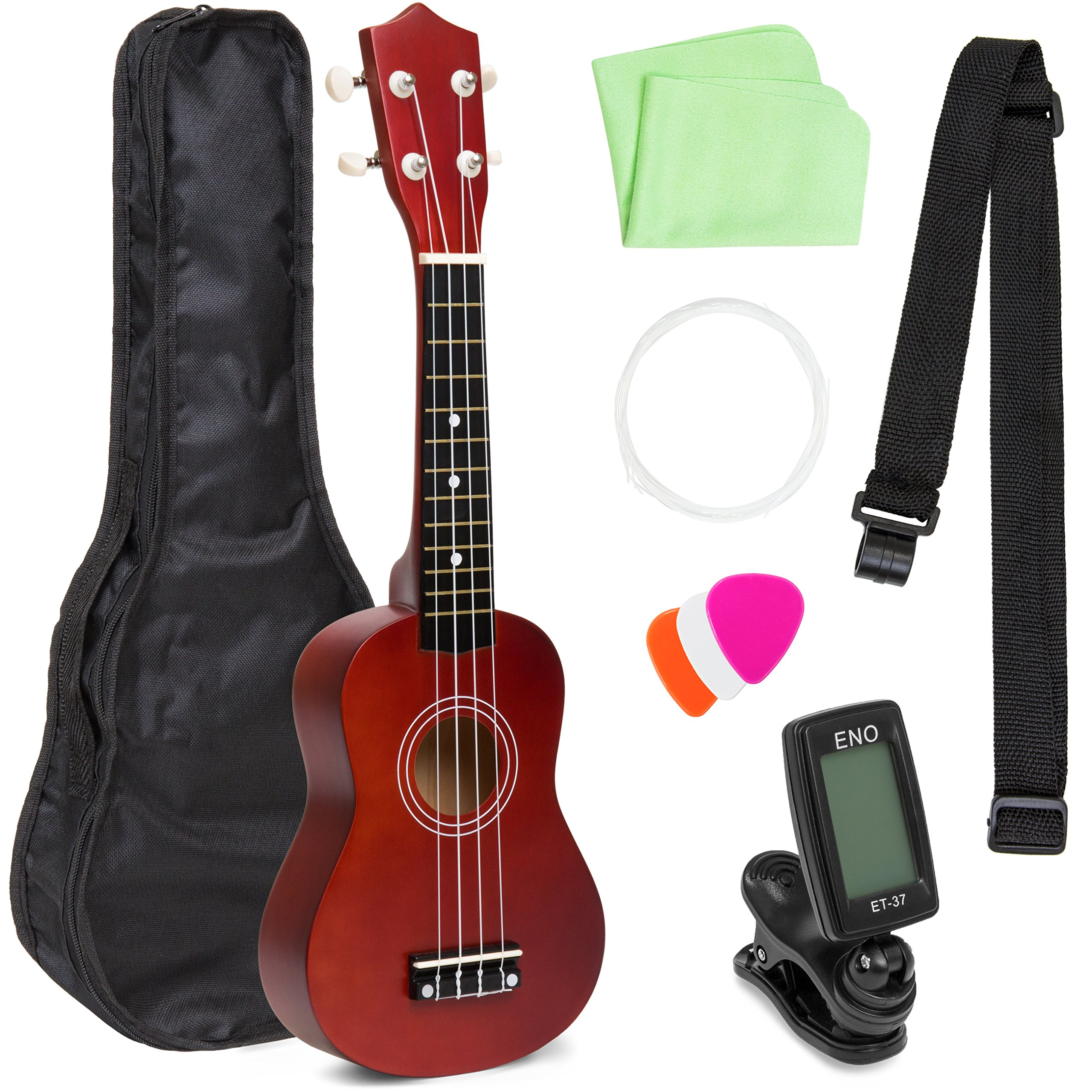 Best Choice Products 21in Beginner Basswood Ukulele Starter Kit w/Case, Strap, Clip-On Tuner, Extra String - Brown by Best Choice Products