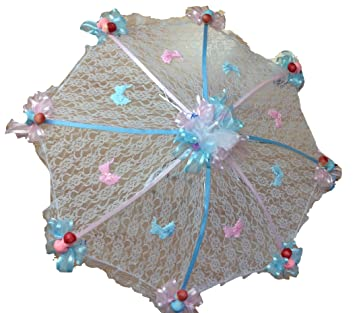 Good Decorated Baby Shower White Lace Umbrella Parasol 32u0026quot; Pink And Blue  Ribbons