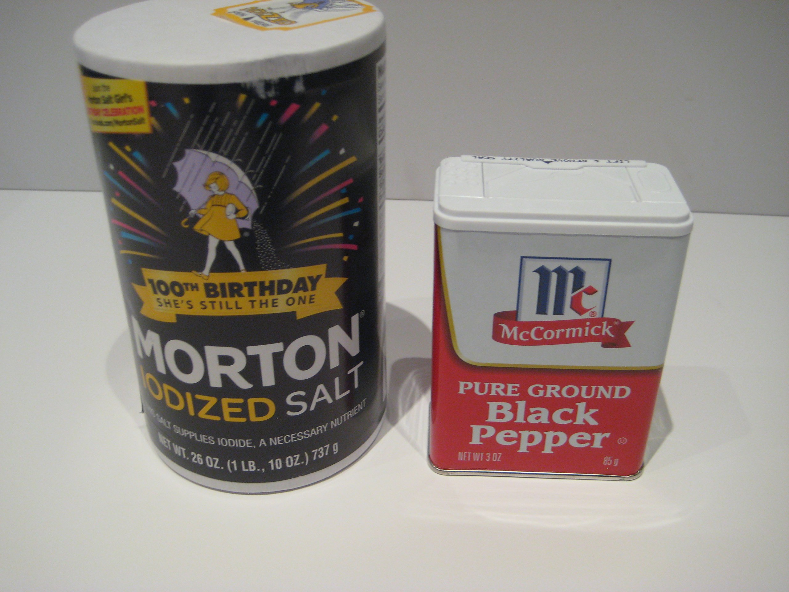Morton Iodized Salt 26oz & Mccormick Pure Ground Black Pepper 3oz. Bundle