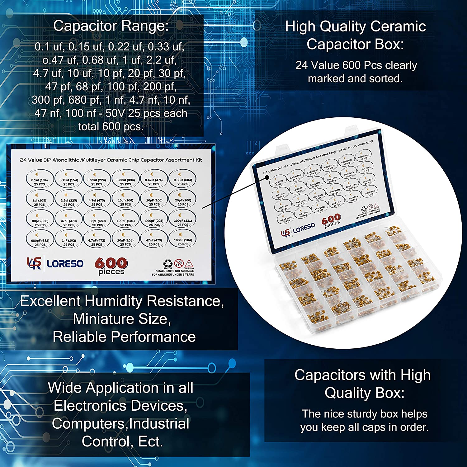10pf to 10uf Electronic Kit Loreso 600 Pack 50V Ceramic Capacitor Componenets Kit Hobby Electronics Kit 26 Value 600 Electronics Assortment Kit Components Kit for Car Audio Project Boxes