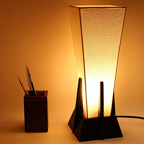 6. Make in modern Wooden & Fabric Pyramid Table Lamp Without Bulb (Black & White, 40 Watt)